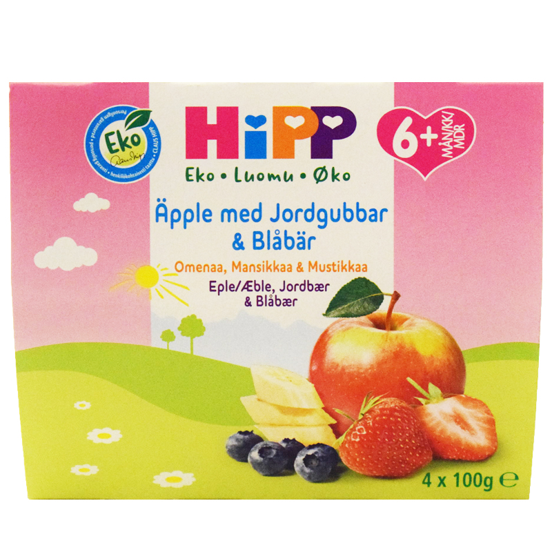 Eko Barnmat Fruktpuré ÄppleJordgubbar & Blåbär 4-pack - 32% rabatt