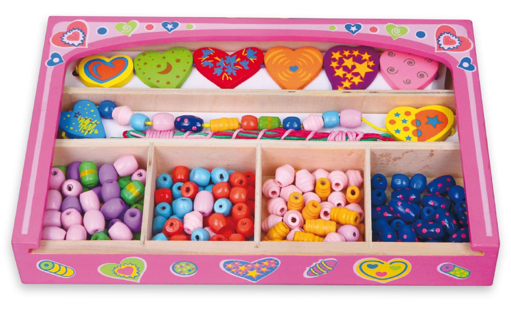 New Classic Toys - Wooden Beads - Hearts (N52729)