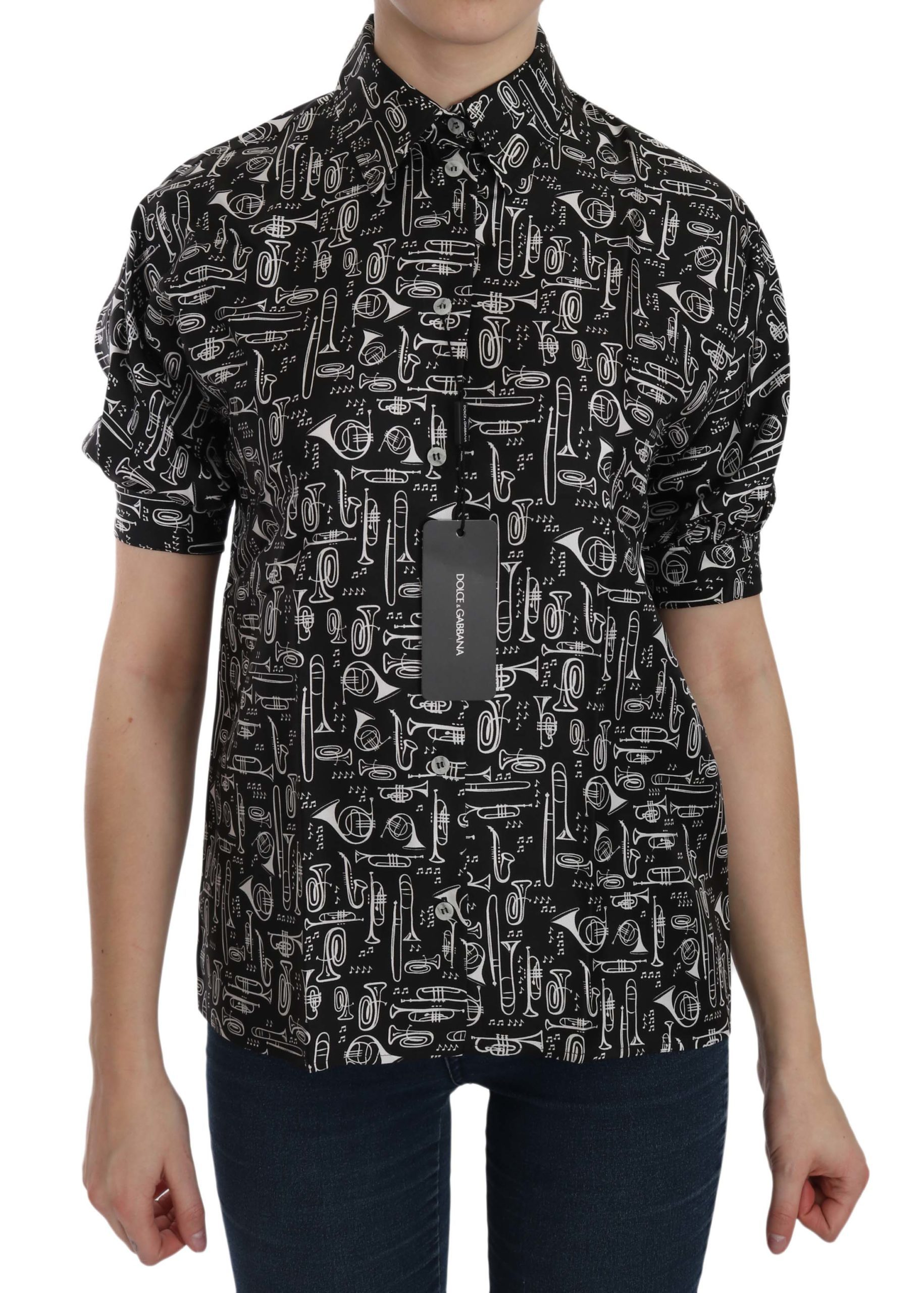 Dolce & Gabbana Women's Musical Instrument Collared Shirt Black TSH3115 - IT36|XXS