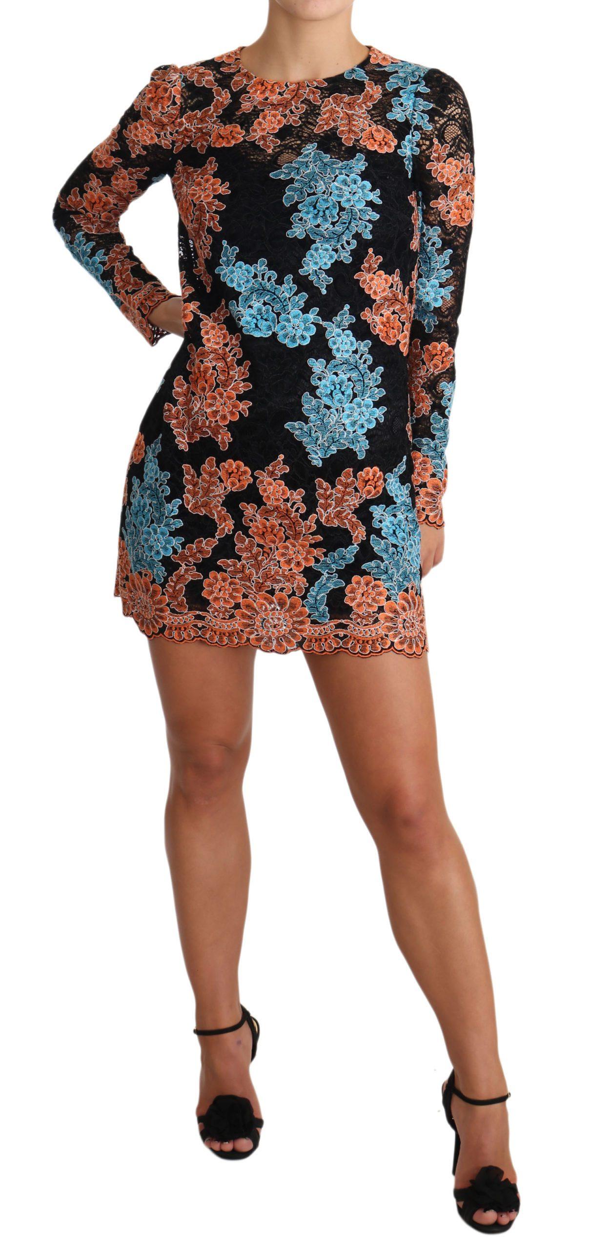 Dolce & Gabbana Women's Lace Embroidered Mini Dress Black DR1943 - IT38|XS