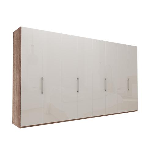 Garderobe Atlanta - Mørk rustikk eik 400 cm, 216 cm, Uten gesims / ramme