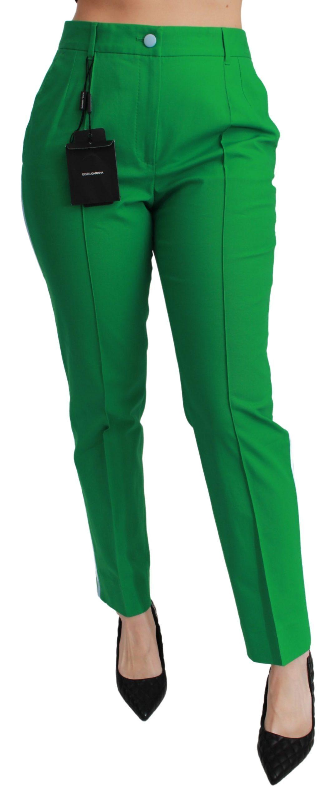 Dolce & Gabbana Women's Cotton Stretch Trouser Green PAN71057 - IT38   S