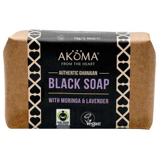 Akoma Ghanaian Black Soap Bar with Moringa & Neem, 70 g