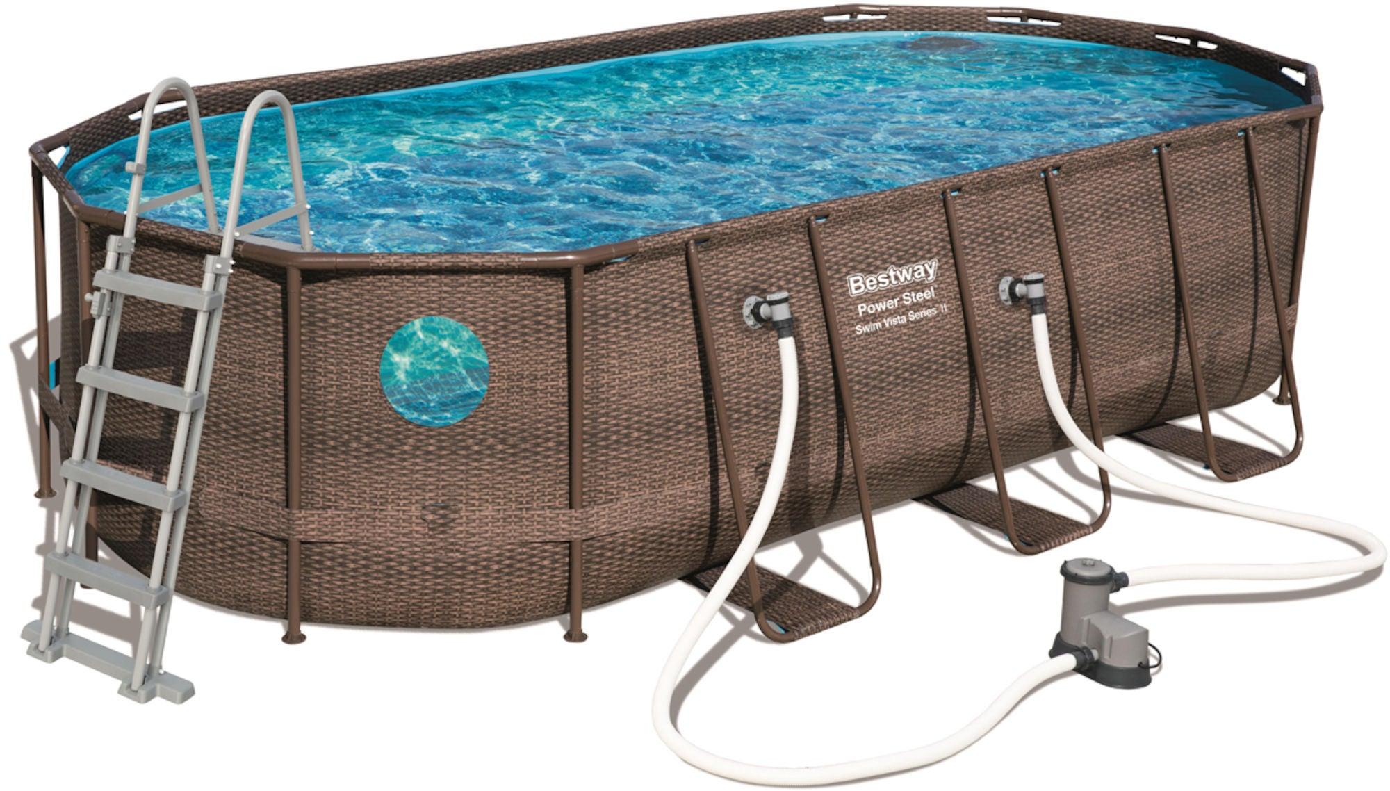 Bestway Power Steel Swim Vista Series Oval Pool m. Tillbehör 549 x 274