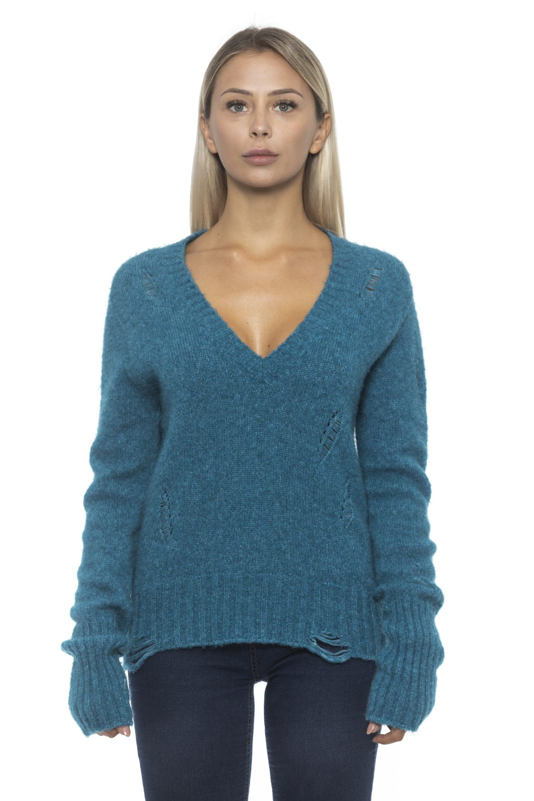 Alpha Studio Women's Blubaltico Sweater Teal AL1192433 - IT42 | S