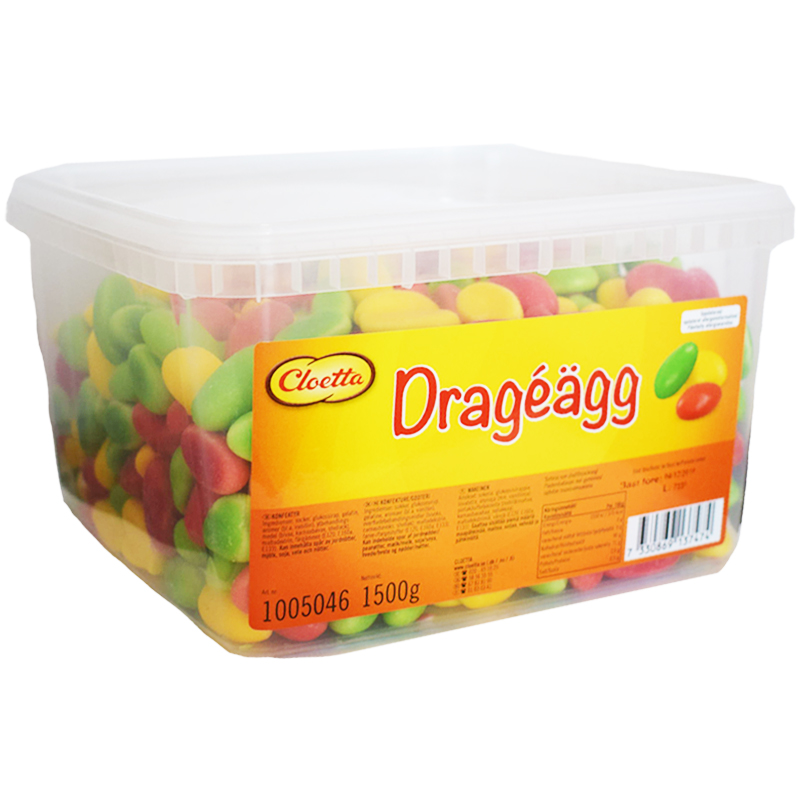 """Hel Låda Godis """"Dragéägg"""" 1,5kg - 57% rabatt"""