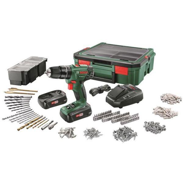 Bosch DIY PSR 1800 + SystemBox Borskrutrekker med tilbehørssett, batterier og ladere