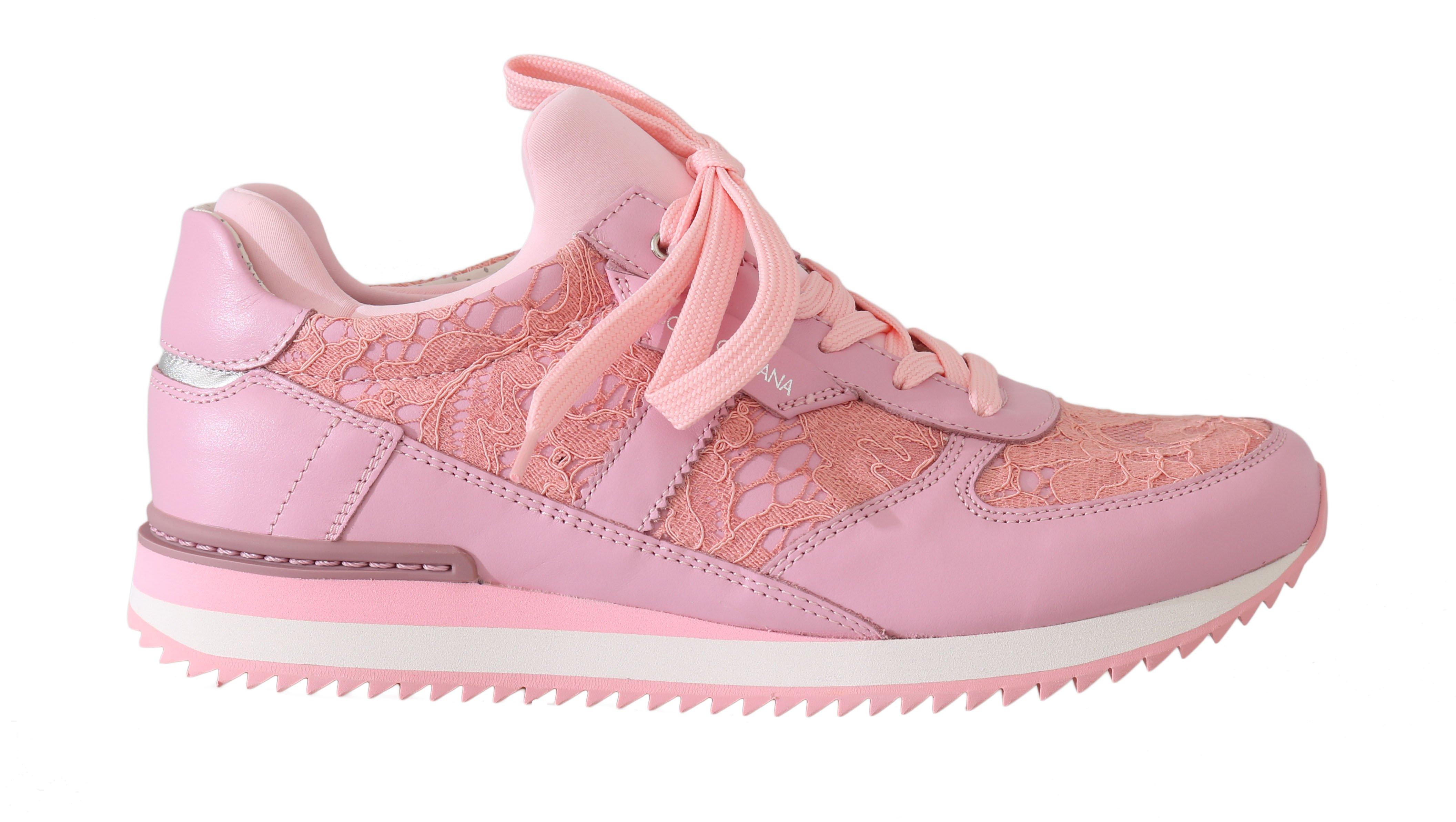 Dolce & Gabbana Women's Floral Lace Leather Trainer Pink LA5675 - EU35/US4.5
