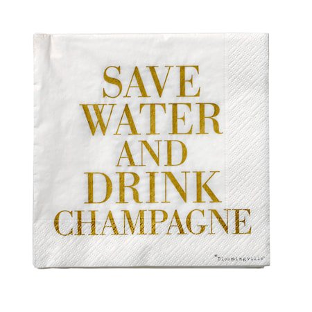 Serviett Hvit/Gull 'Drink Champagne' Papir 33x33cm 20-pakk