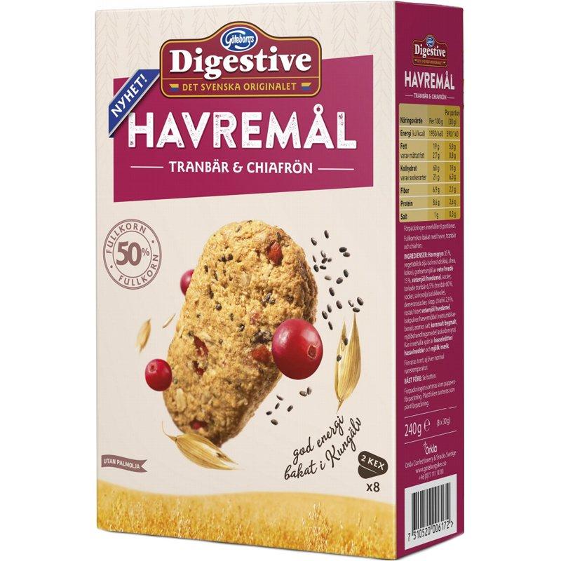 Havremål-keksit, Karpalo & Chia-siemen 240g - 35% alennus