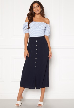 ONLY Nova Lux Button Skirt Solid Night Sky 36