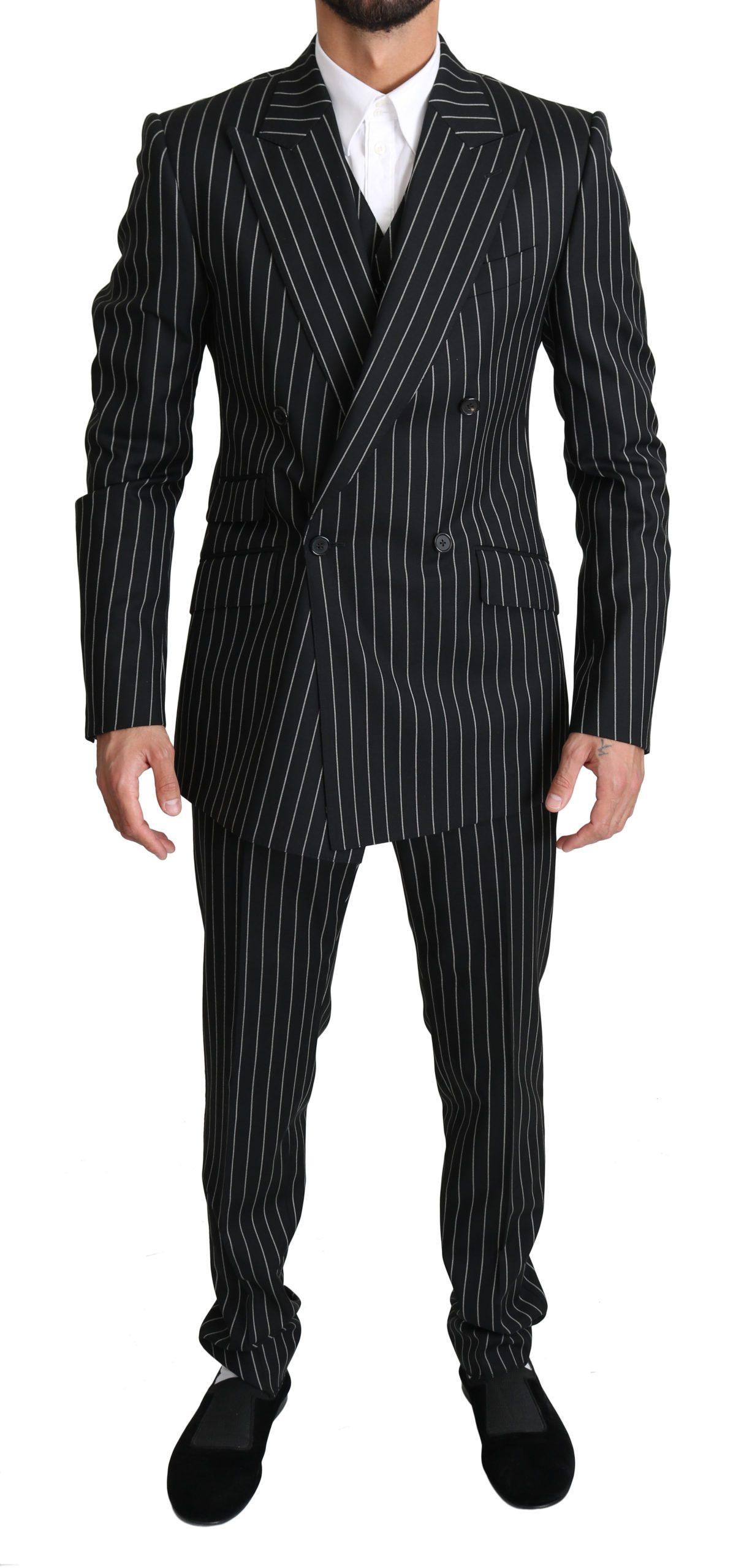 Dolce & Gabbana Men's Striped 3 Piece SICILIA Suit Beige KOS1525 - IT48 | M