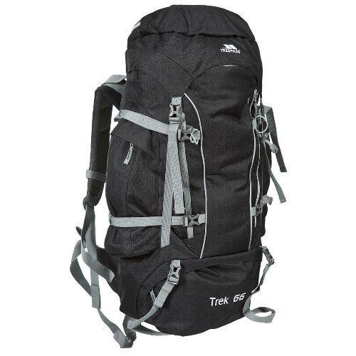 Trespass Unisex Camping Hiking Bag Backpack Various Colours Trek66 - Ash 66 Litre