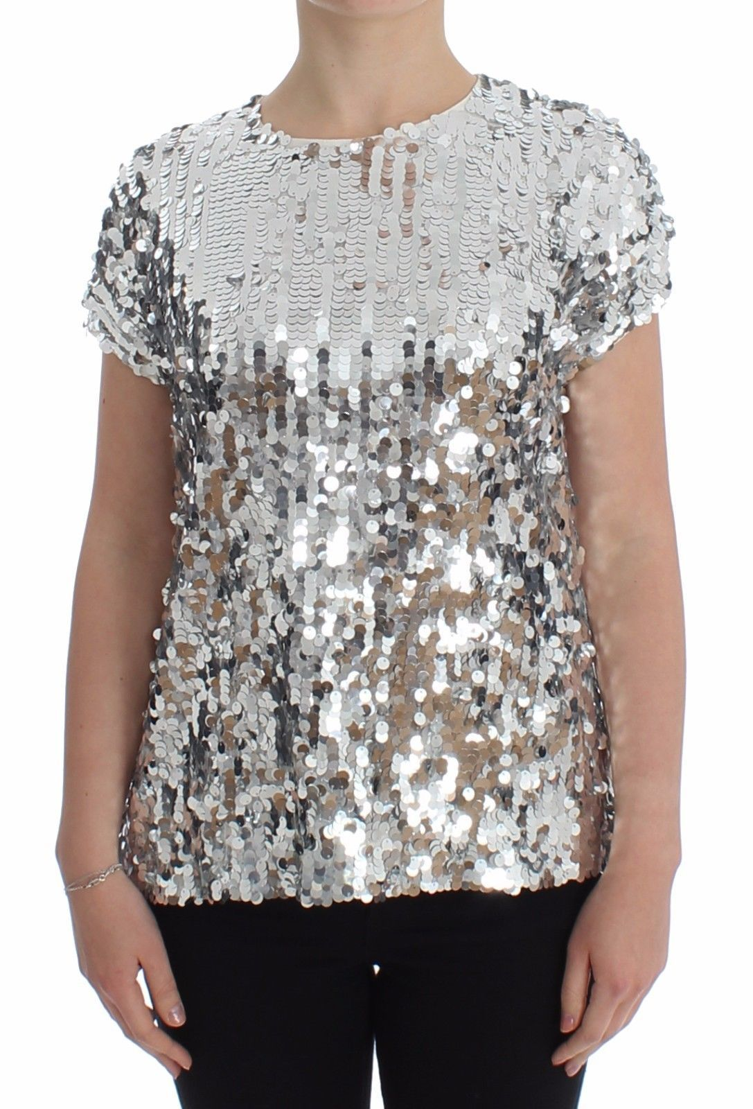 Dolce & Gabbana Women's Sequined T-Shirt White/Silver SIG13202 - IT44
