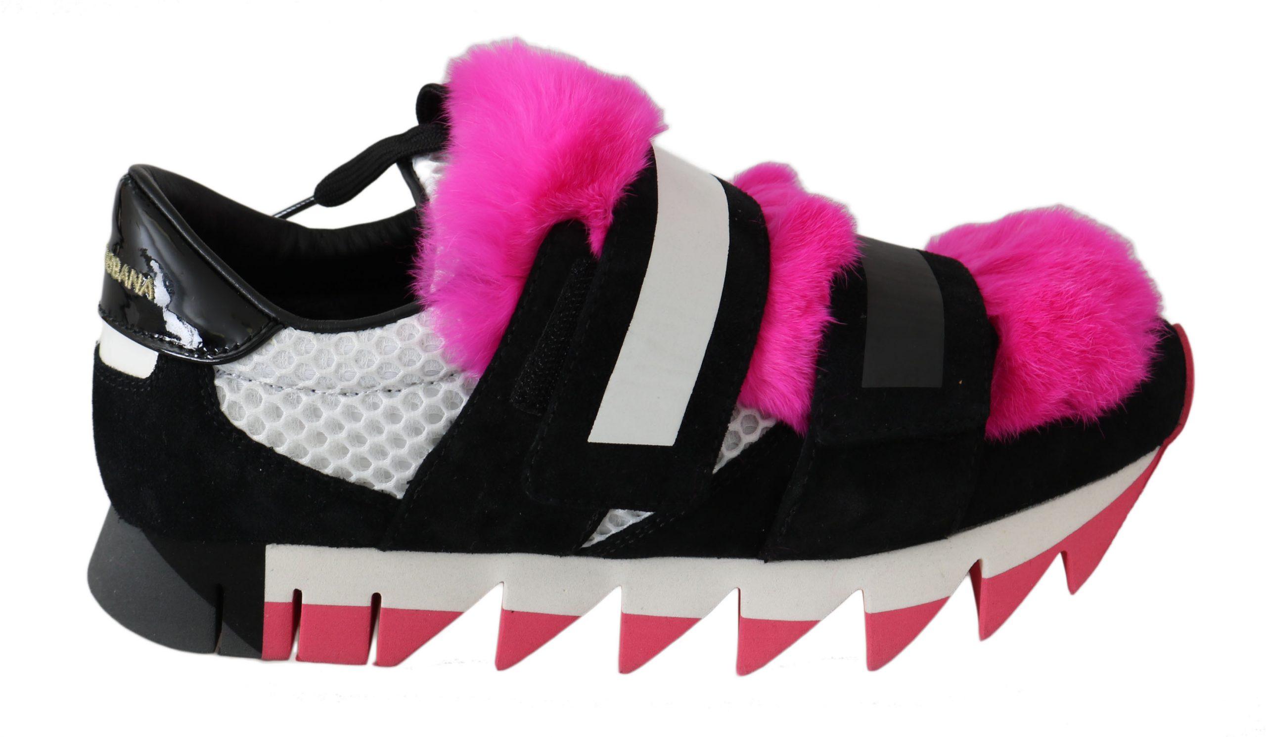 Dolce & Gabbana Women's Leather Pink Fur Trainer Black LA5934 - EU39/US6
