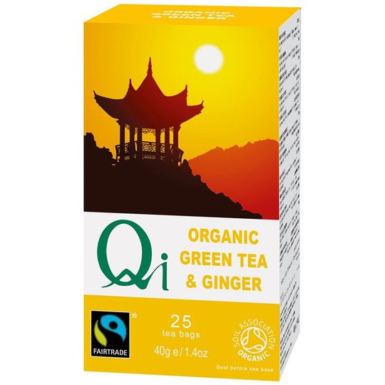 Qi Teas Grönt Te med Ingefära, 25 påsar