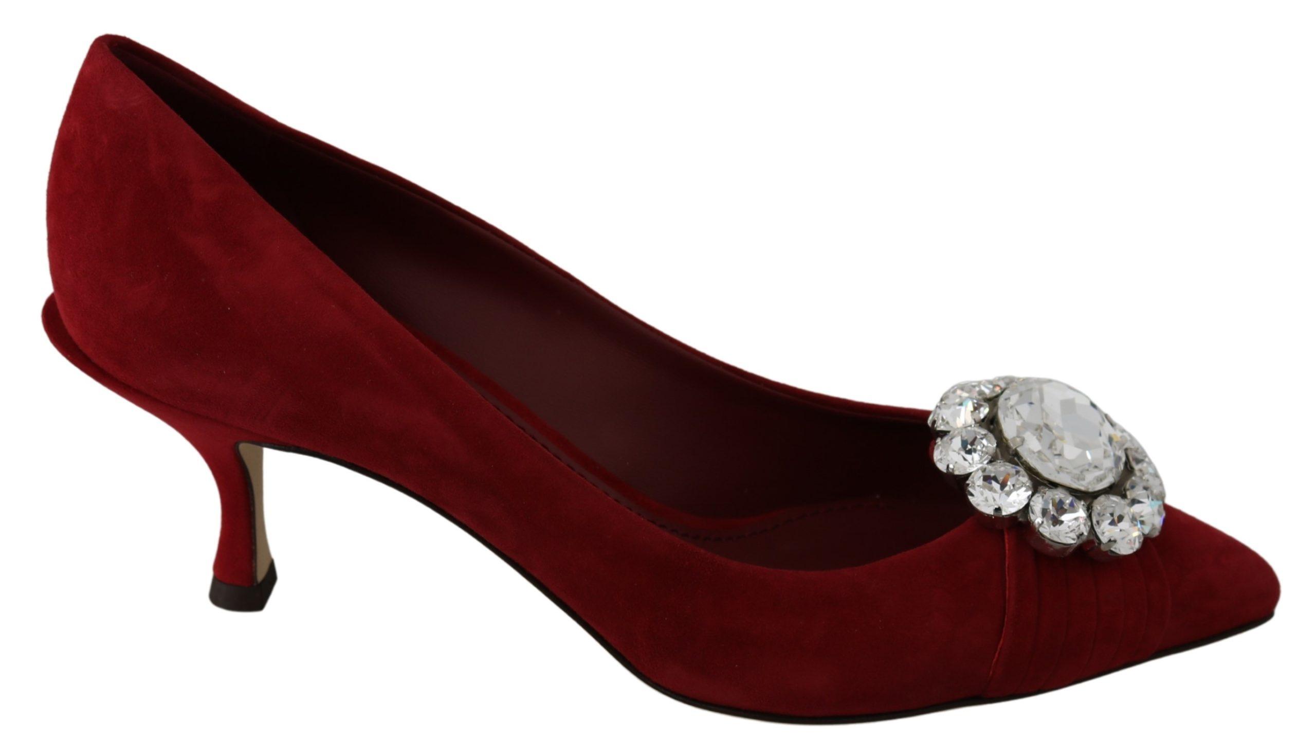Dolce & Gabbana Women's Suede Clear Crystals Pumps Red LA7235 - EU39/US8.5
