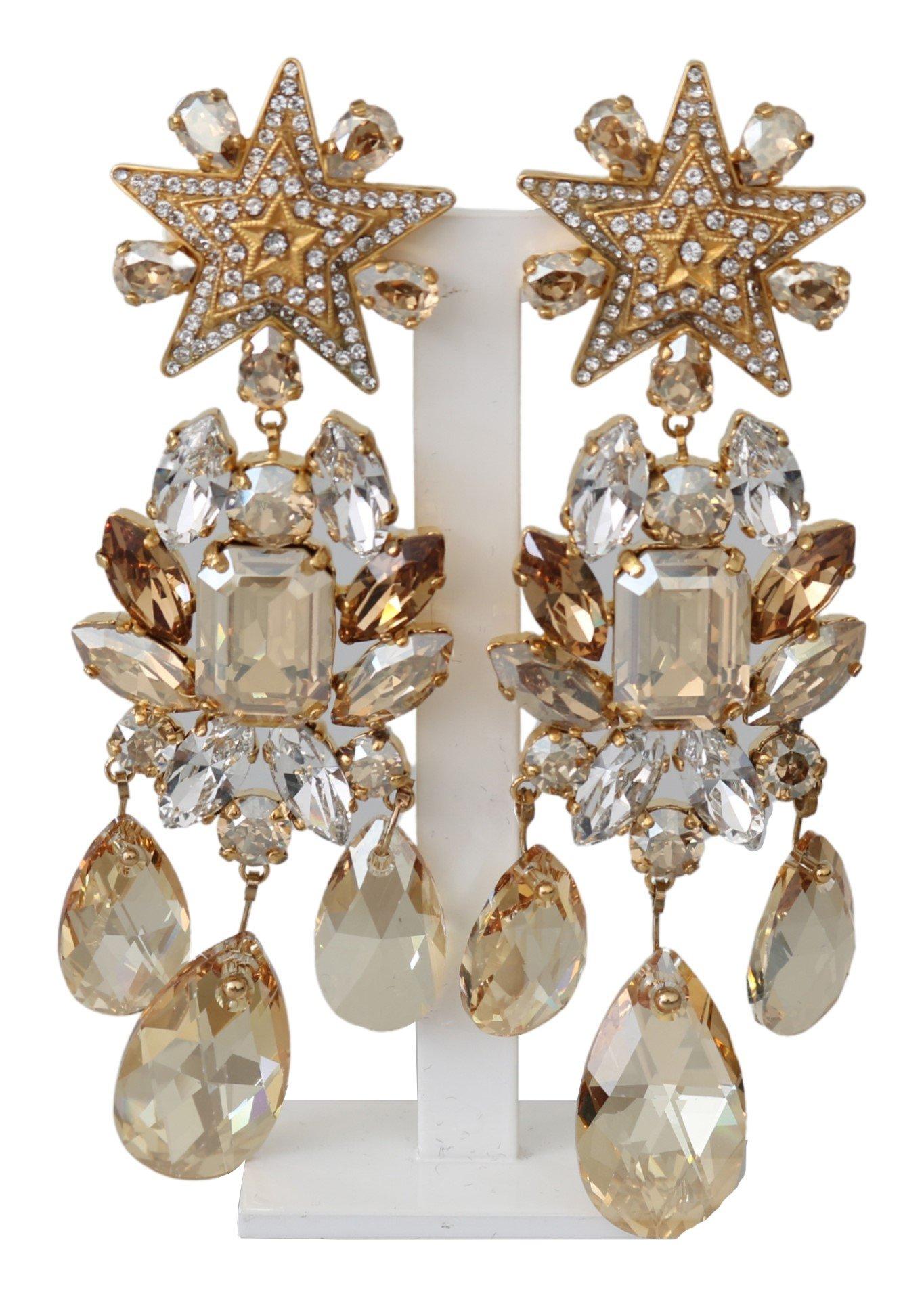 Dolce & Gabbana Women's Brass Clear Crystal Clip On Earrings Gold SMY100202