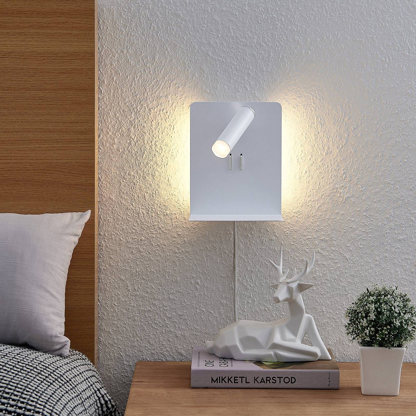 Lucande Zavi-LED-seinäspotti, taso, USB, valkoinen