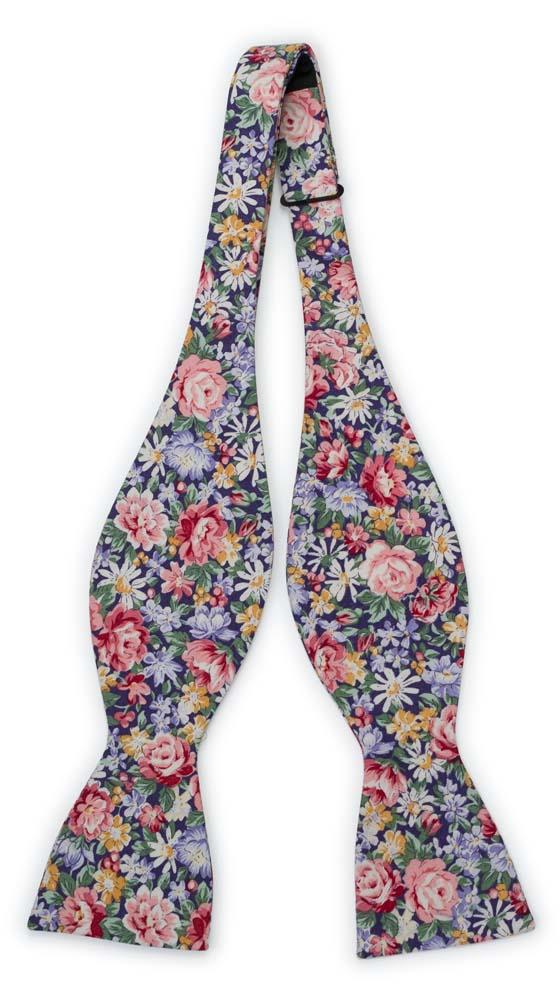 Bomull Sløyfer Uknyttede, Rosa, blå, gule & grønne blomster på mørk lilla