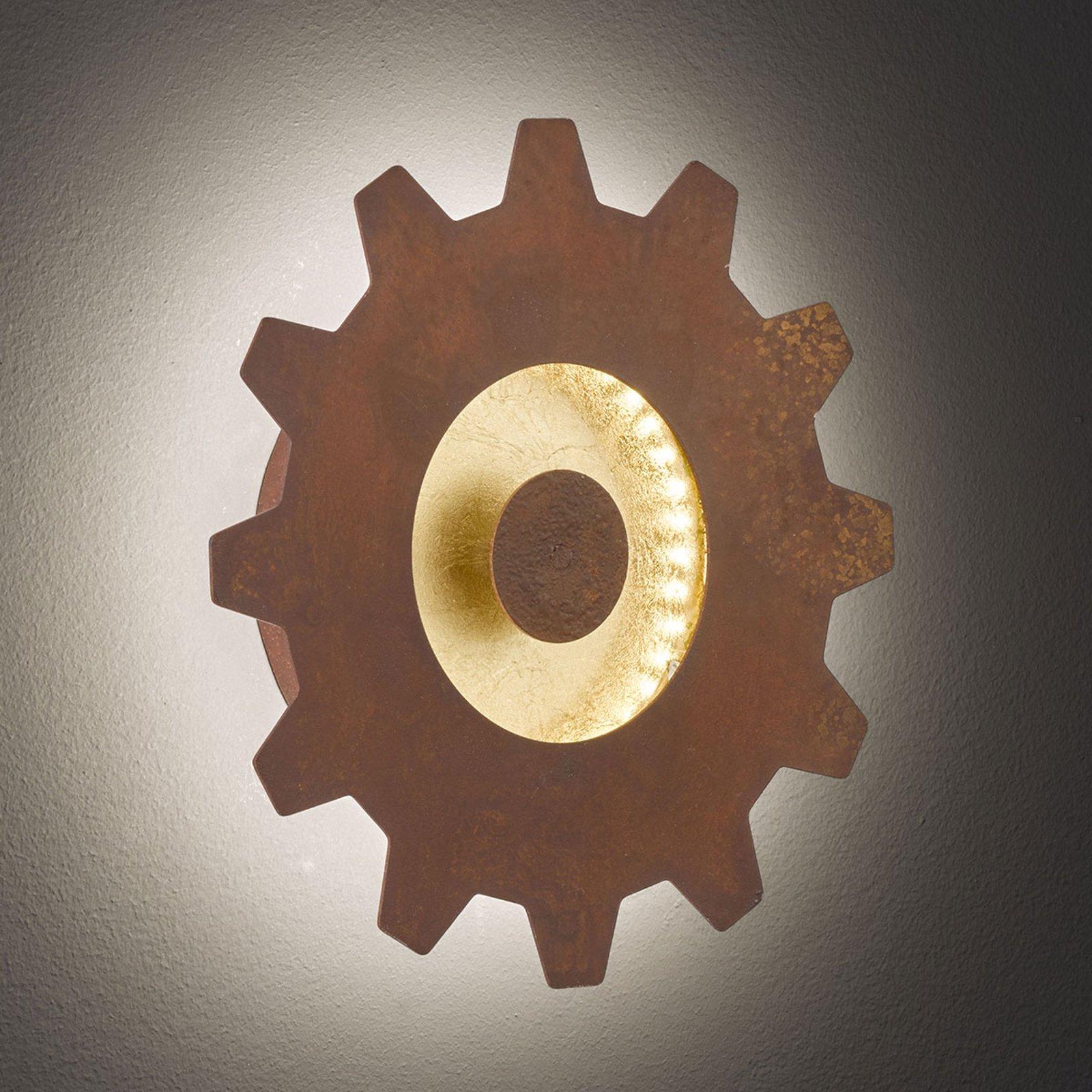 LED-vegglampe Leif med gullaksent