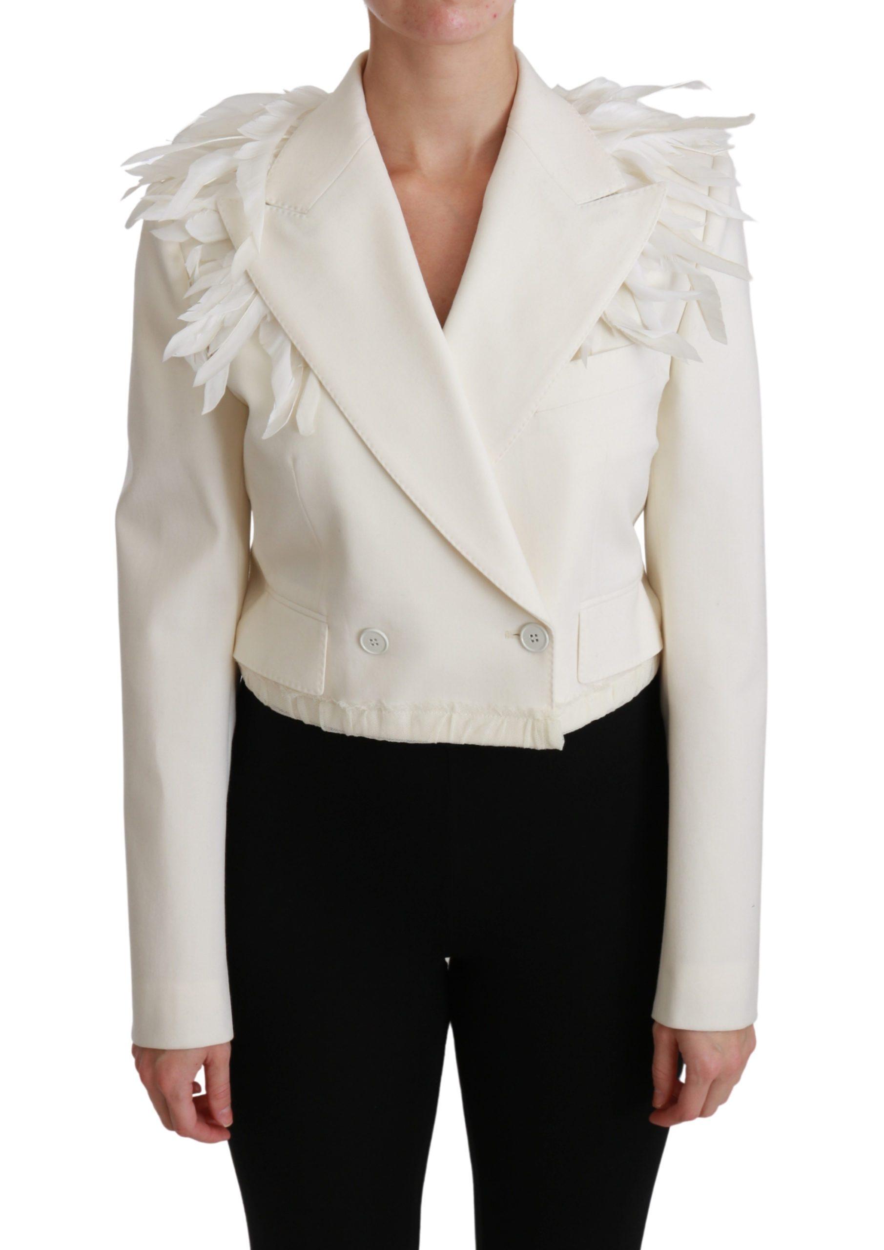 Dolce & Gabbana Women's Double Breasted Coat Wool Jacket White JKT2580 - IT40 S