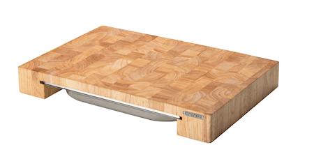 Skärbräda med låda Gummiträ 48x32x6 cm