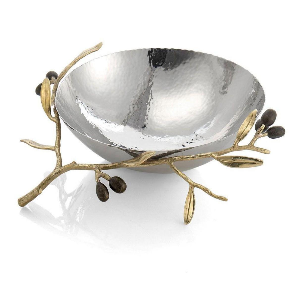Michael Aram I Olive Branch Gold Steel Bowl