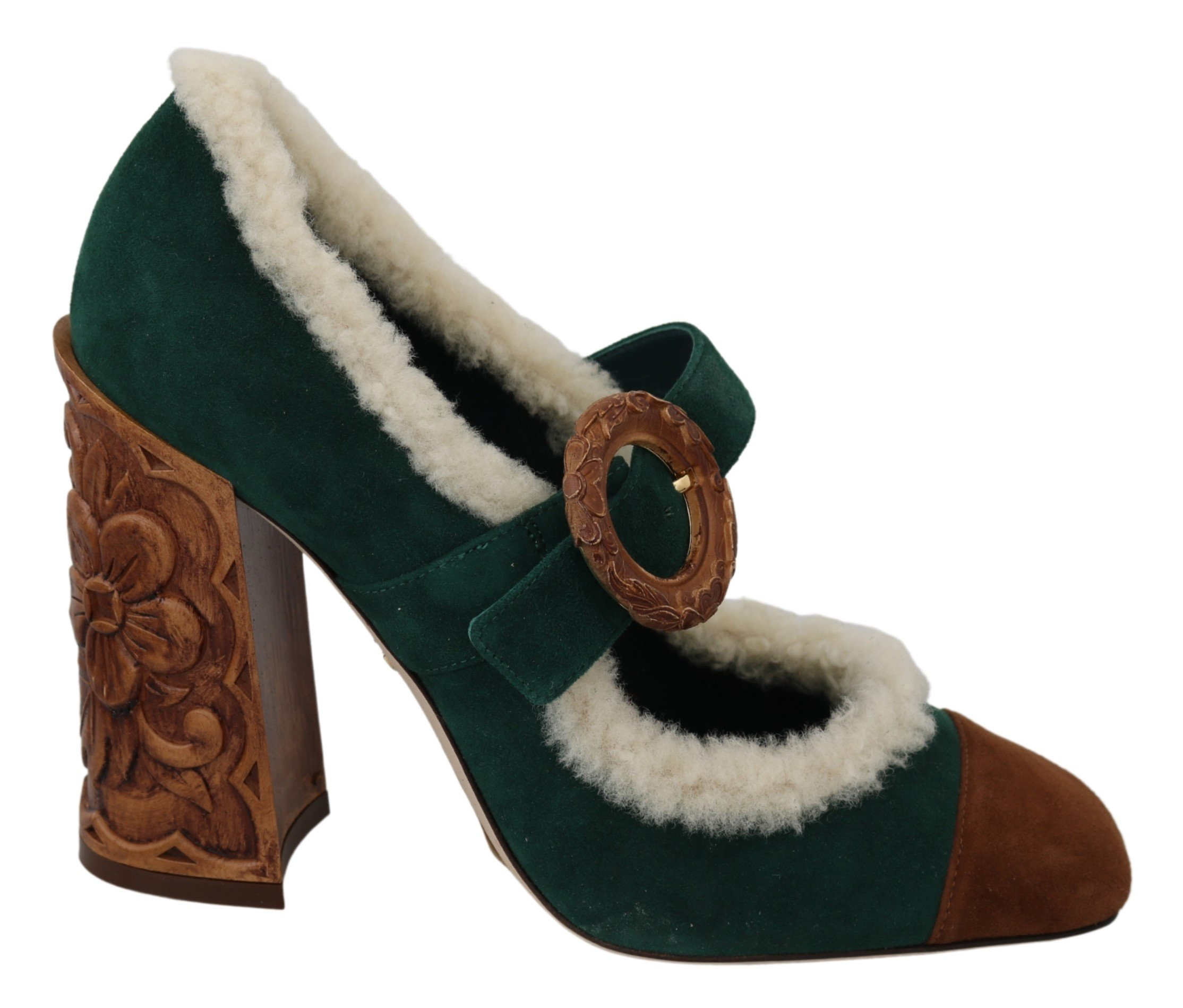 Dolce & Gabbana Women's Suede Fur Mary Jane Heels Green LA7021 - EU39/US8.5