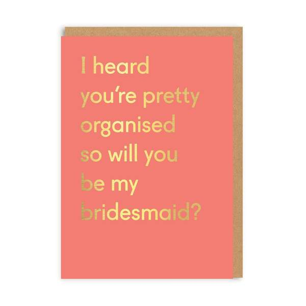 Bridesmaid Organised Wedding Greeting Card