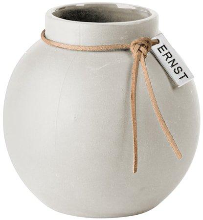 Rund Vase steingods 10 cm - hvit