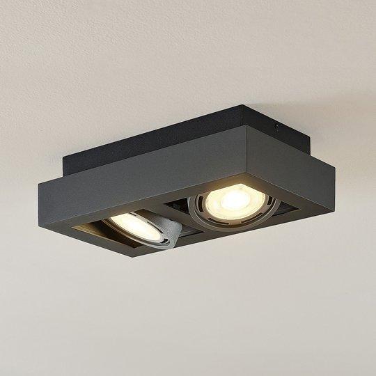LED-kattospotti Ronka, GU10, 2-lampp., t.harmaa