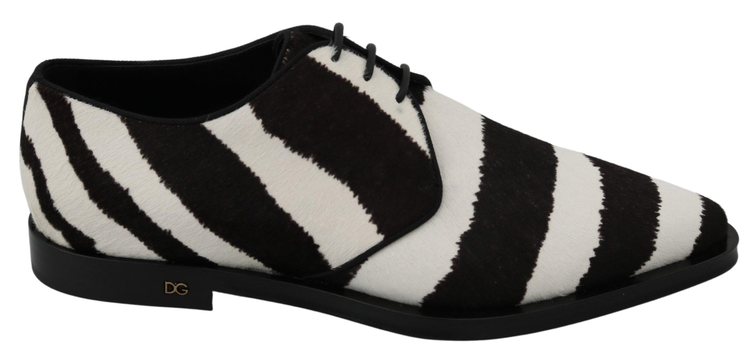Dolce & Gabbana Women's Zebra Pony Hair Dress Broque Shoe White LA7215 - EU39/US8.5