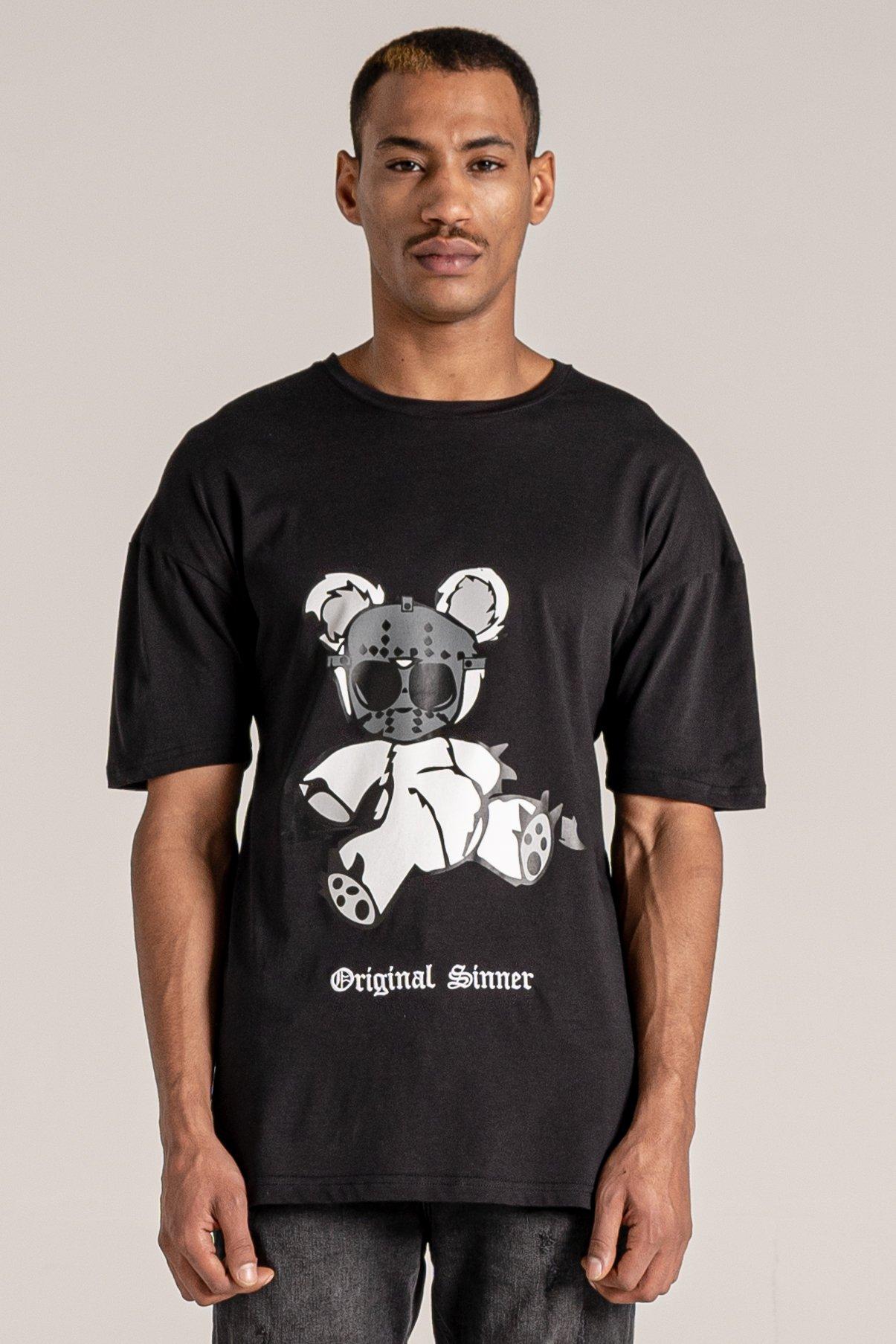 Night Bear Print Men's T-Shirt - Black, Small