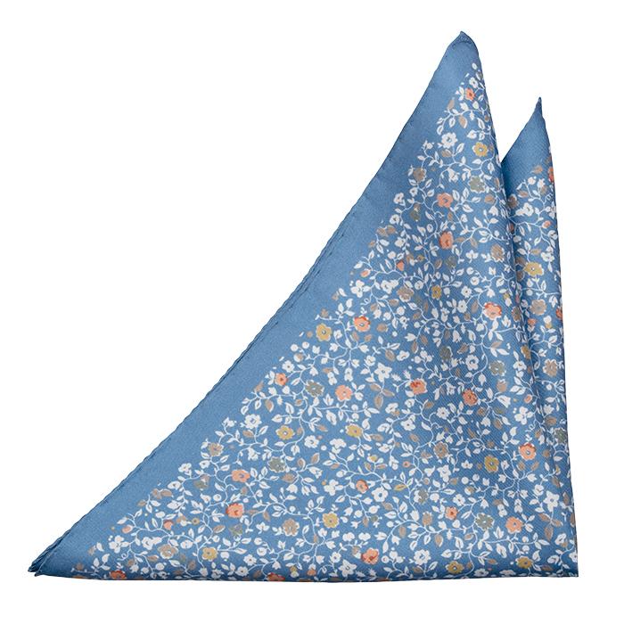 Silke Lommetørkler, Trykt blomstermønster på blå italiensk silke, Notch ANDREA