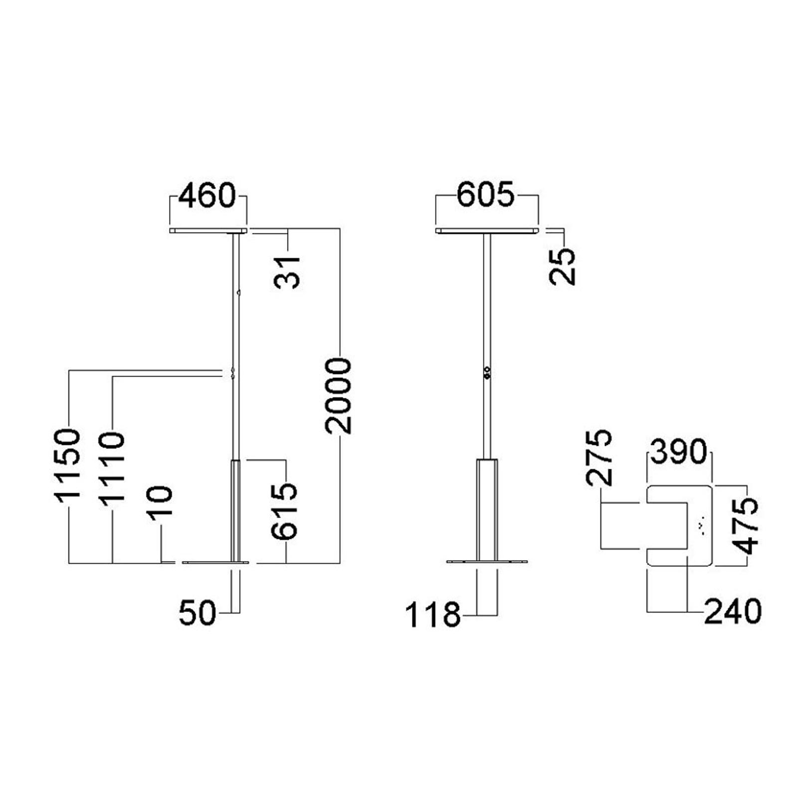 Toimiston LED-lattialamppu LINEA-F, CCT, harmaa