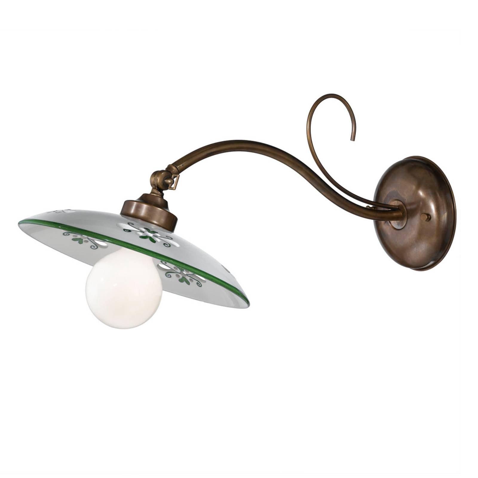 Vegglampe Bassano, keramisk skjerm, utgående grønn