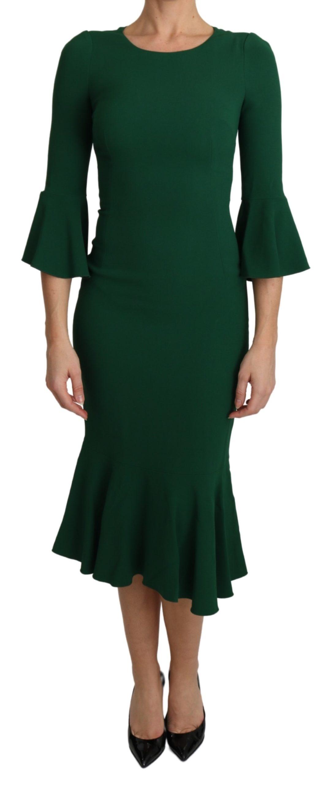 Dolce & Gabbana Women's Mermaid Midi Dress Green DR2583 - IT36 | XS