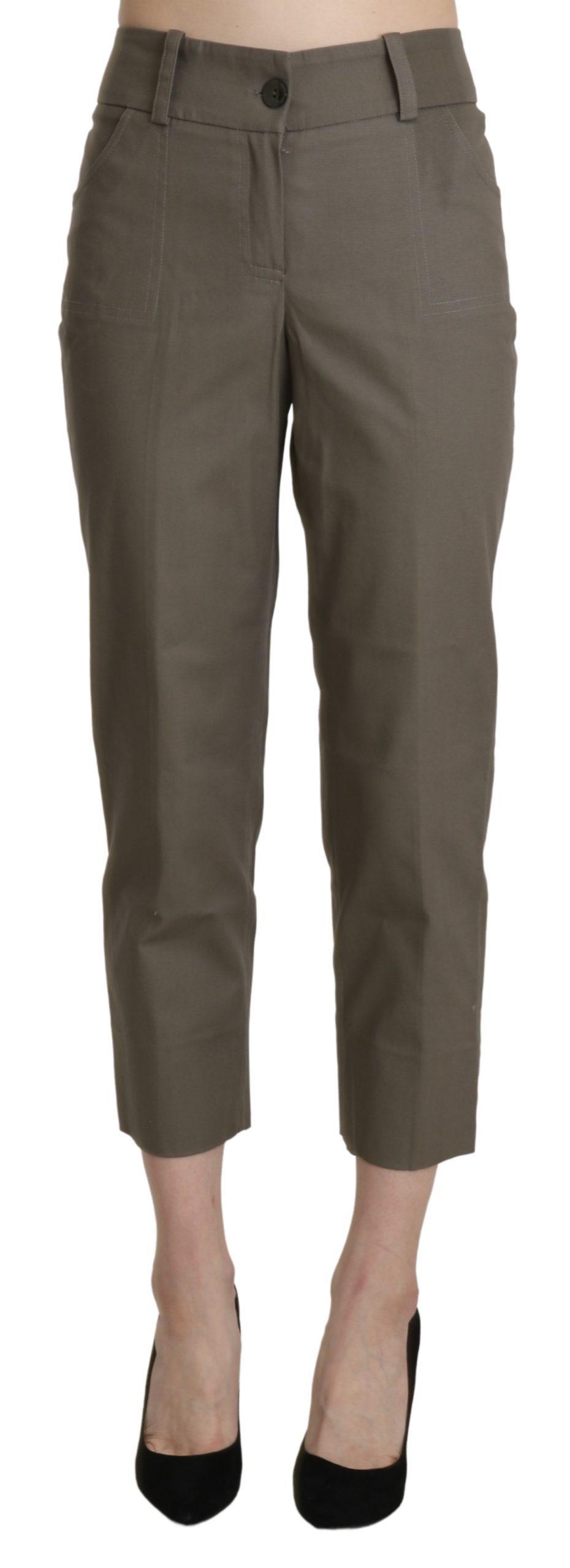 BENCIVENGA Women's High Waist Cropped Trousers Grey PAN71344-46 - IT46|XL