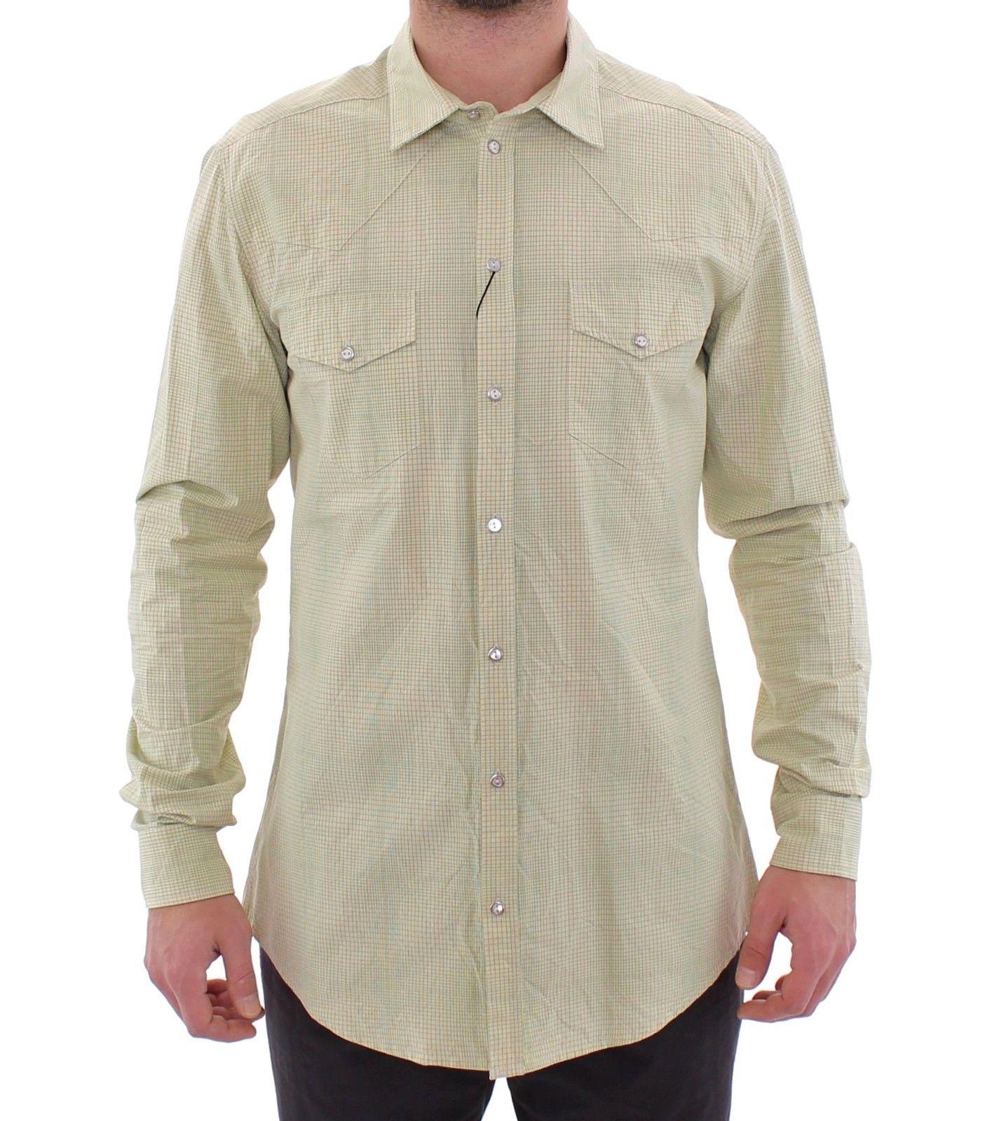 Dolce & Gabbana Men's Checkered SICILIA Casual Shirt Yellow GSS15041 - 39