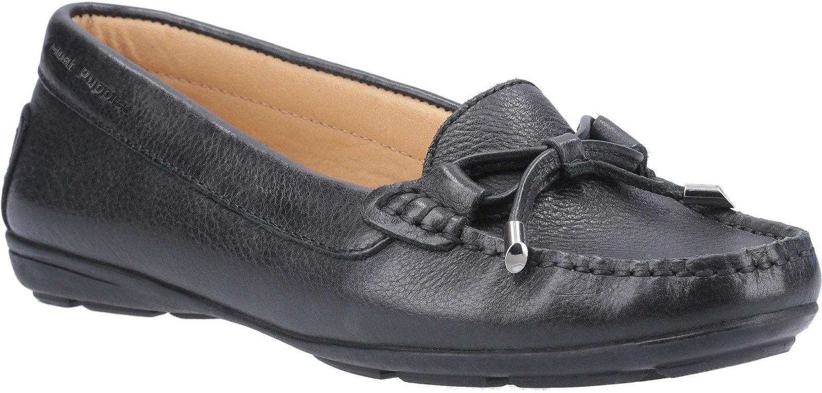 Hush Puppies Women's Maggie Slip On Loafer Shoe Various Colours 28405 - Black 3