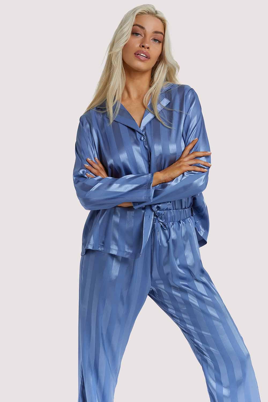 Wolf & Whistle Blue Stripe Satin Pyjama Set UK 10 / US 6