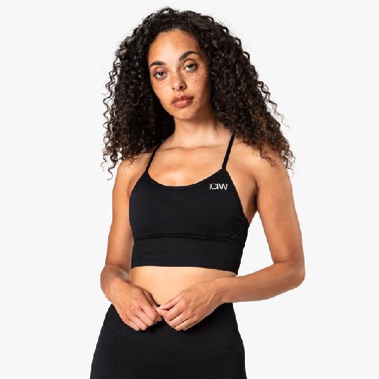 Queen Mesh Sport Bra, Solid Black