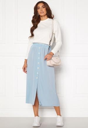 ONLY Nova Lux Button Skirt Solid Blue Fog 42