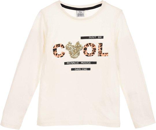Disney Minni Mus Langermet T-skjorte, Off White, 4 År
