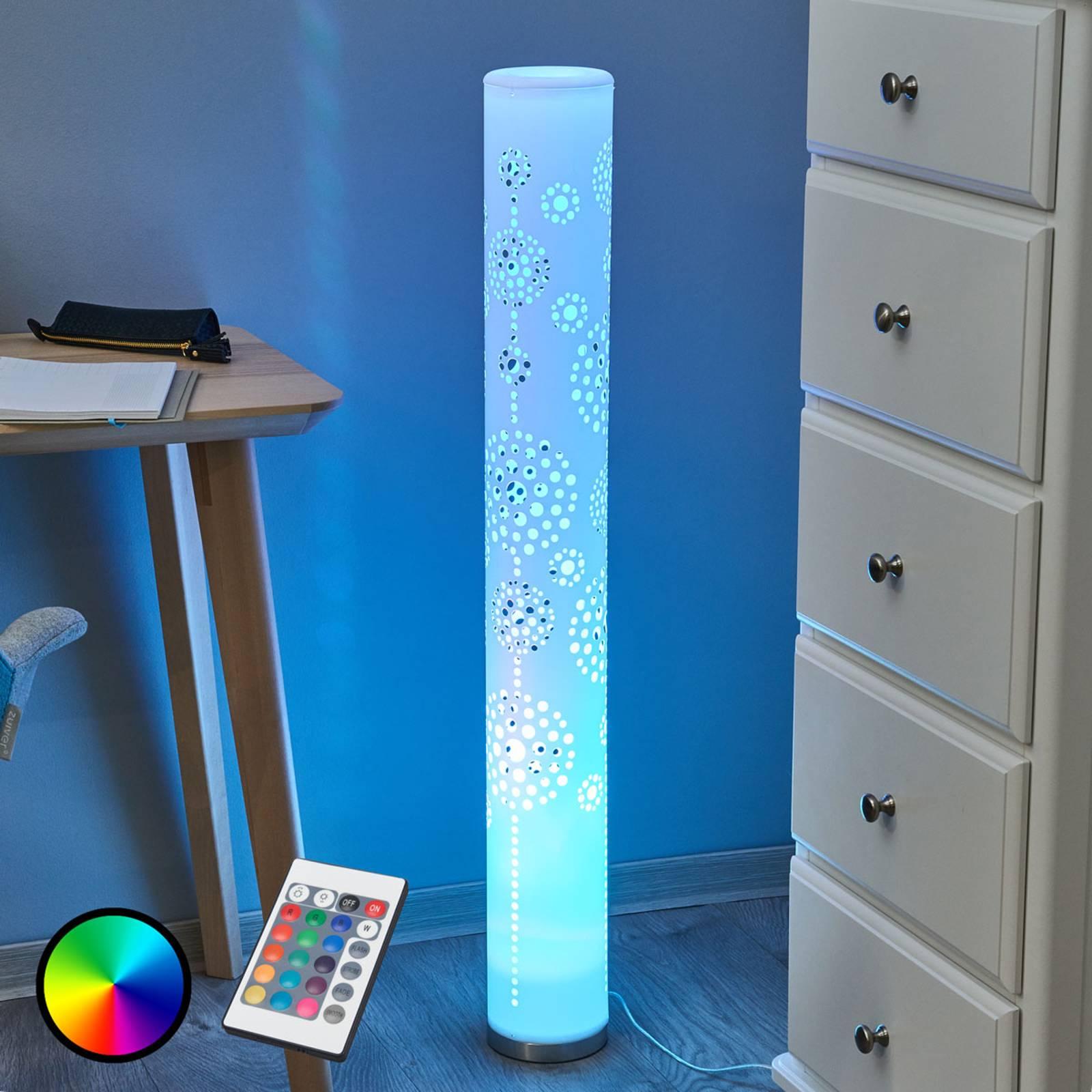 Koristava LED-lattialamppu Mirella, RGB-kauko-ohj.