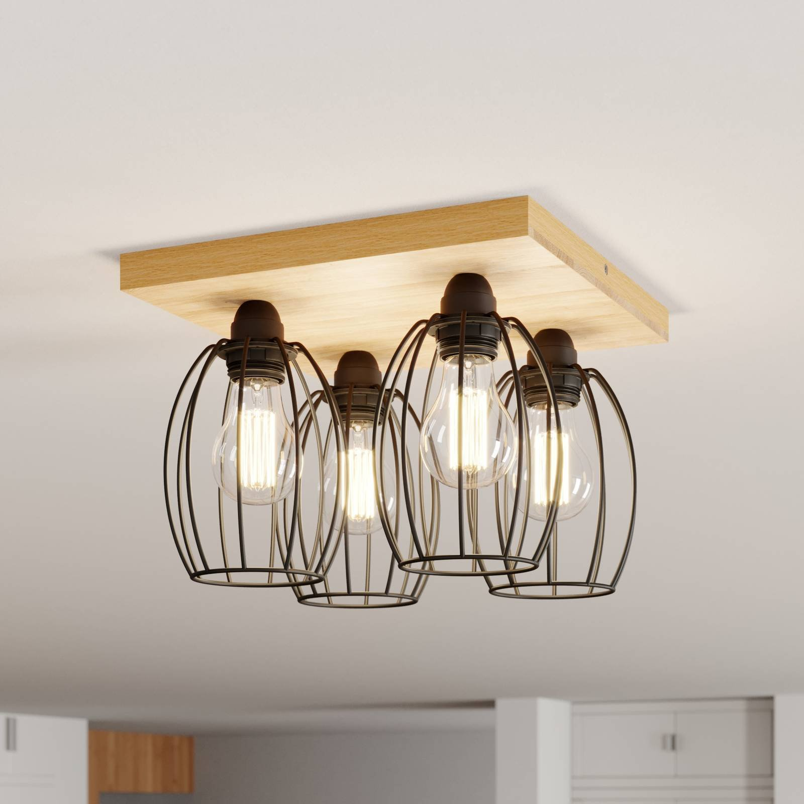 Taklampe Beevly, tre og metall, 4 lyskilder