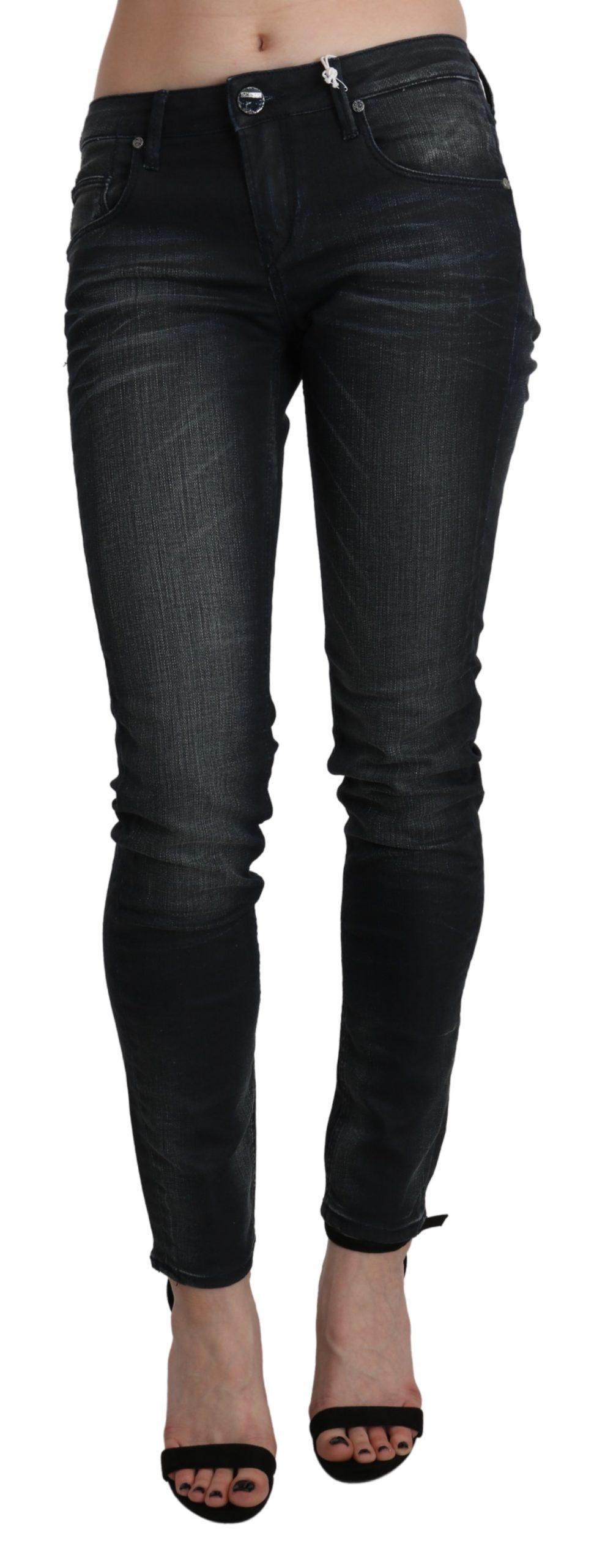 Black Washed Low Waist Skinny Denim Trouser - W28