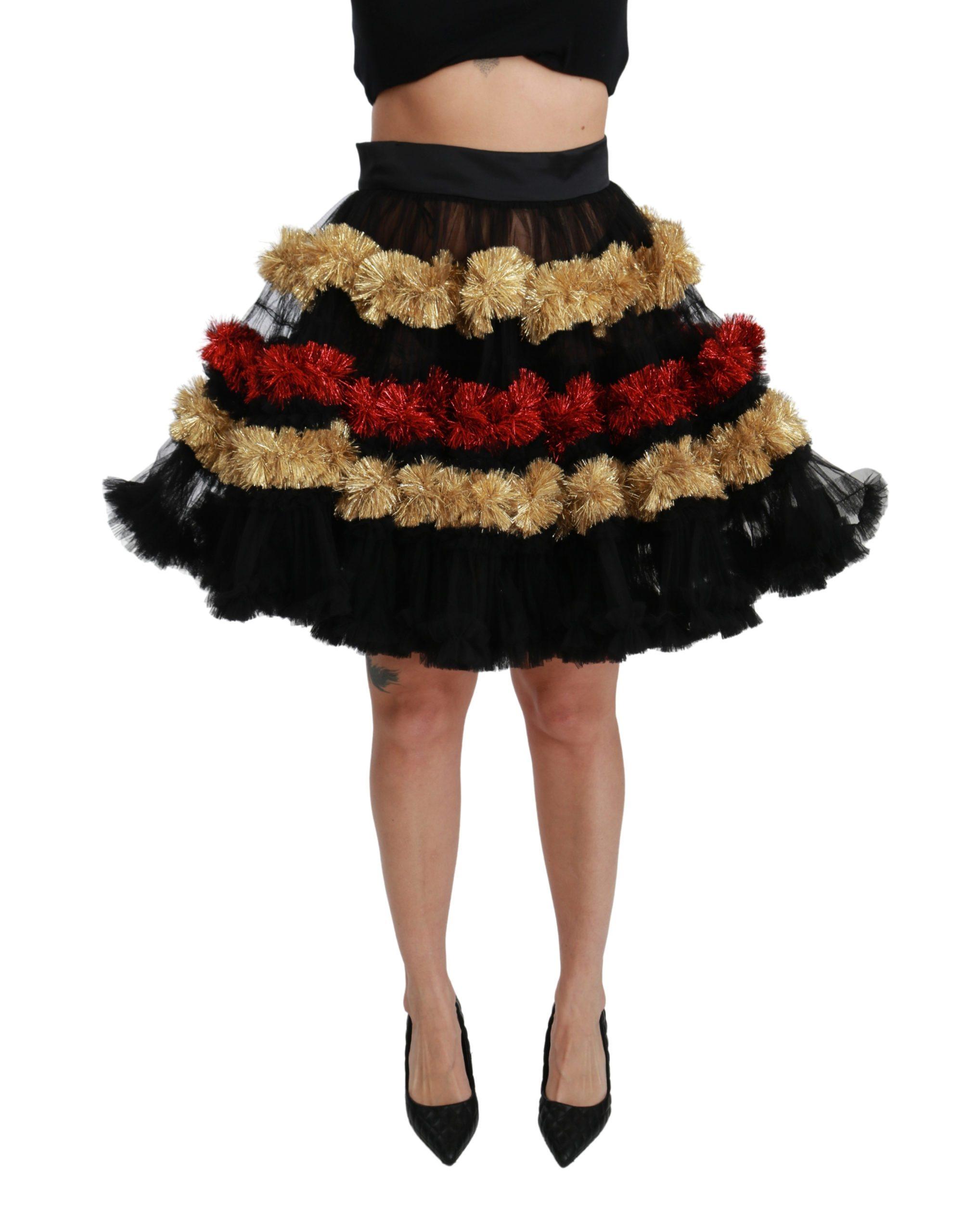 Dolce & Gabbana Women's Sheer Layered Ruffled Skirt Multicolor SKI1422 - IT40|S