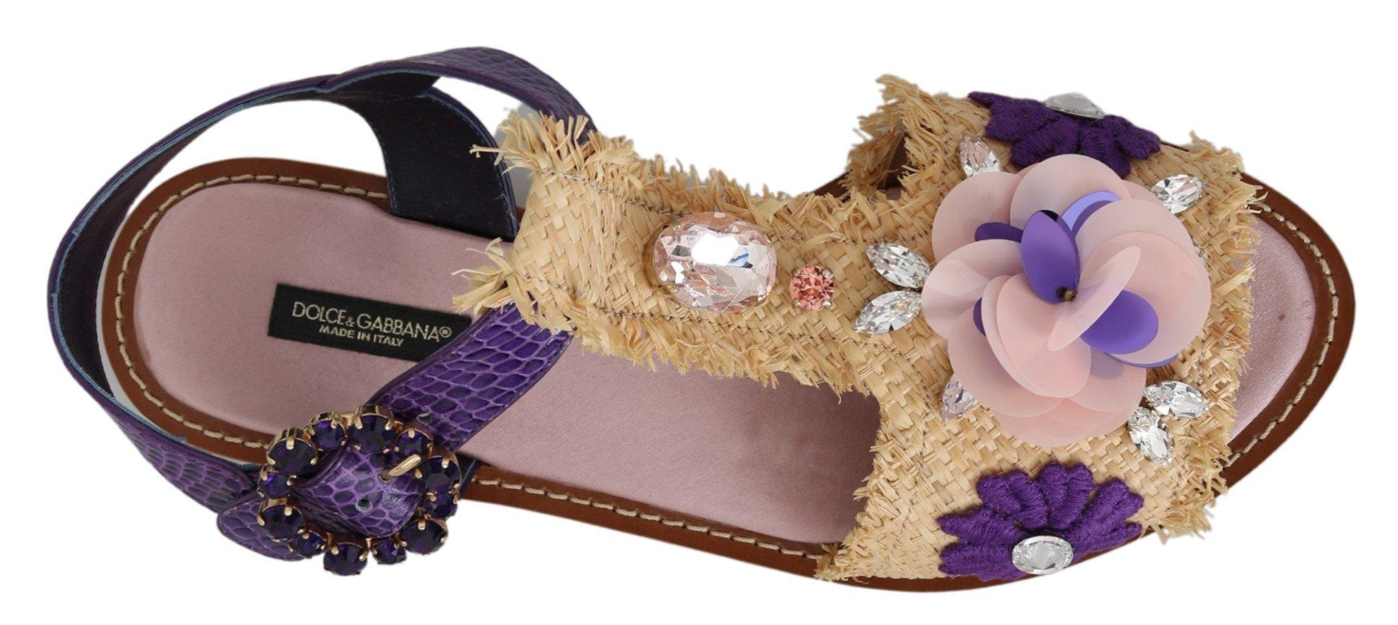 Dolce & Gabbana Women's Leather Crystal Sandal Purple LA6887 - EU39/US8.5